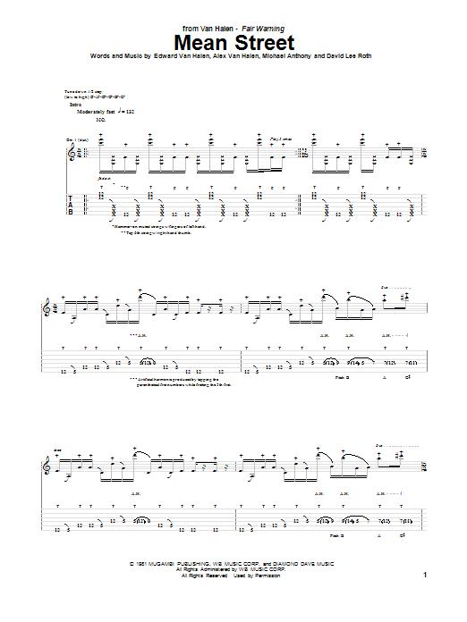 Van Halen Mean Street sheet music notes and chords
