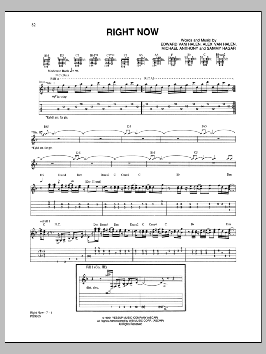 Van Halen Right Now sheet music notes and chords. Download Printable PDF.