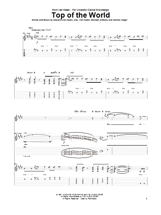 Van Halen Top Of The World sheet music notes and chords