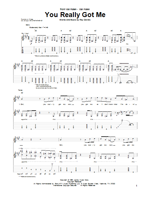Van Halen You Really Got Me sheet music notes and chords