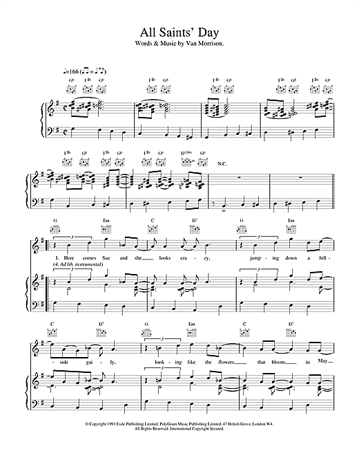Van Morrison All Saint's Day sheet music notes and chords