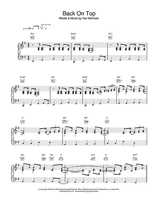 Van Morrison Back On Top sheet music notes and chords. Download Printable PDF.