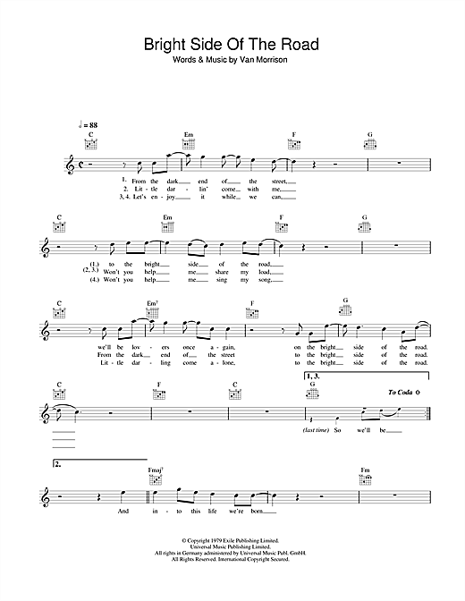 Van Morrison Bright Side Of The Road sheet music notes and chords. Download Printable PDF.