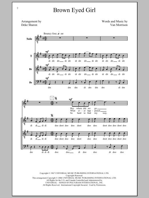 Van Morrison Brown Eyed Girl (arr. Deke Sharon) sheet music notes and chords. Download Printable PDF.