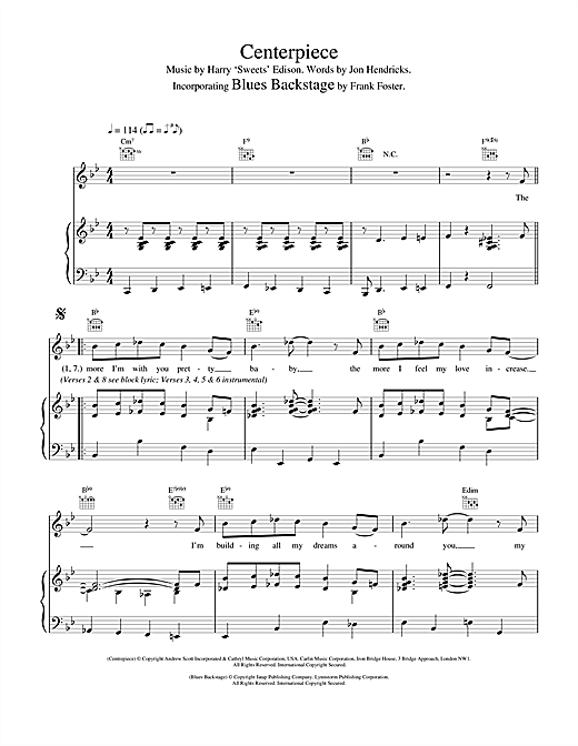 Van Morrison Centerpiece/Blues Backstage sheet music notes and chords. Download Printable PDF.