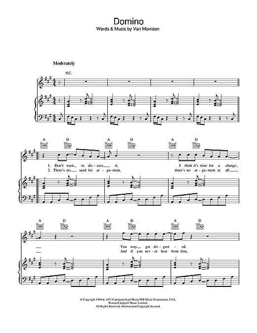 Van Morrison Domino sheet music notes and chords. Download Printable PDF.