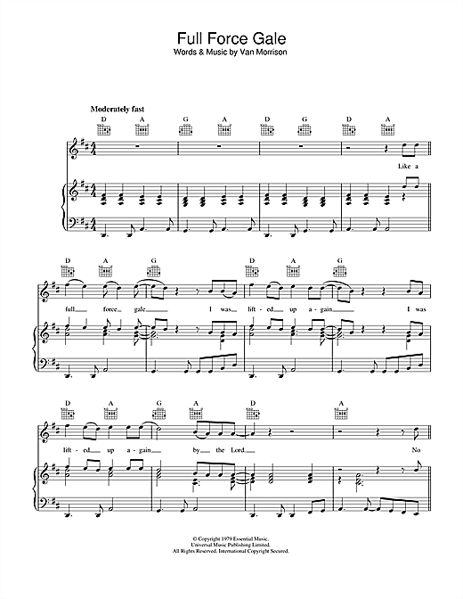 Van Morrison Full Force Gale sheet music notes and chords. Download Printable PDF.