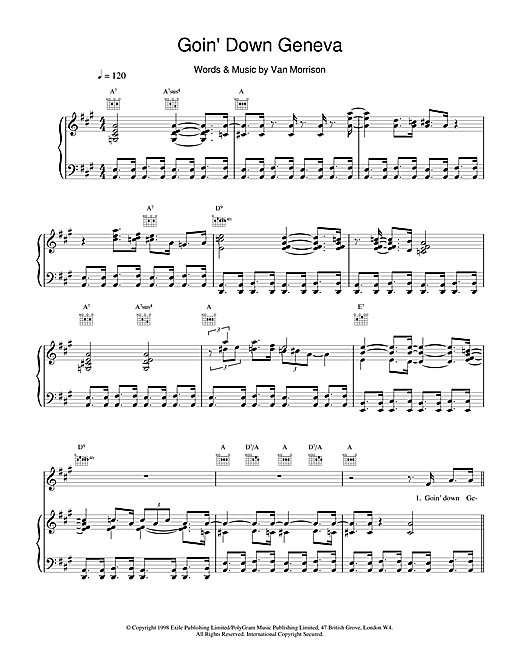Van Morrison Goin' Down Geneva sheet music notes and chords