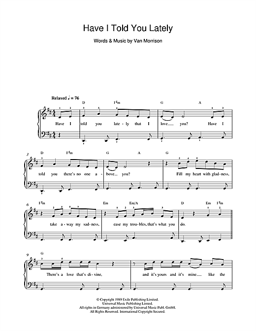 Van Morrison Have I Told You Lately sheet music notes and chords