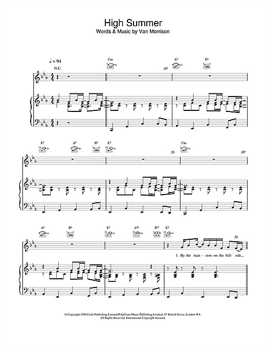 Van Morrison High Summer sheet music notes and chords