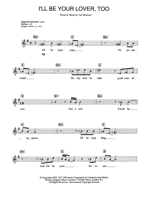 Van Morrison I'll Be Your Lover, Too sheet music notes and chords. Download Printable PDF.