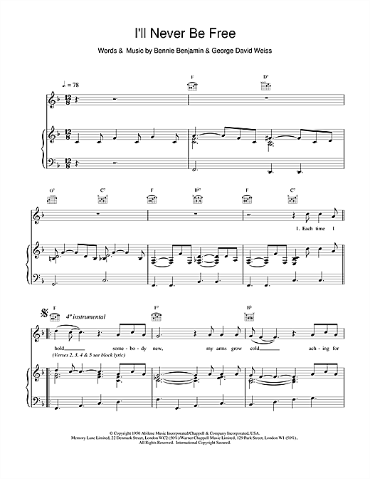 Van Morrison I'll Never Be Free sheet music notes and chords