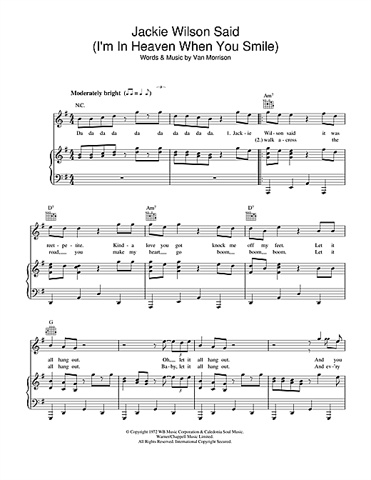 Van Morrison Jackie Wilson Said (I'm In Heaven When You Smile) sheet music notes and chords. Download Printable PDF.