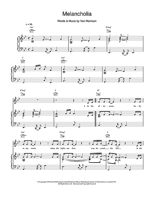 Van Morrison Melancholia sheet music notes and chords