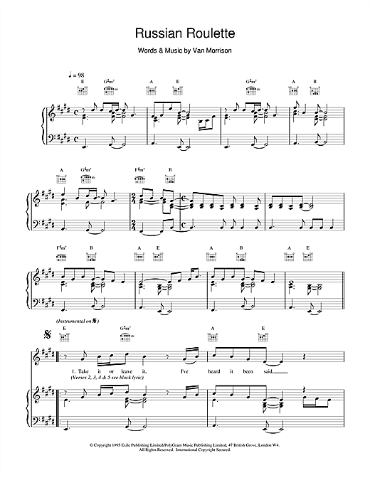 Van Morrison Russian Roulette sheet music notes and chords. Download Printable PDF.