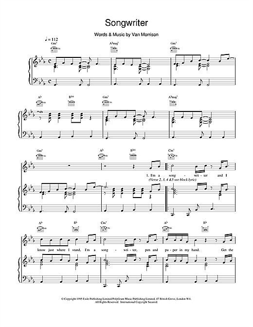 Van Morrison Songwriter sheet music notes and chords