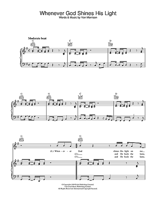 Van Morrison Whenever God Shines His Light sheet music notes and chords. Download Printable PDF.