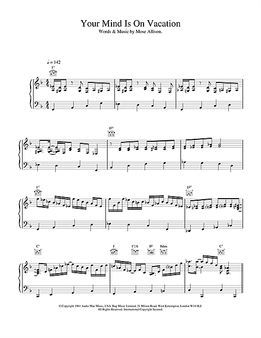Van Morrison Your Mind Is On Vacation sheet music notes and chords