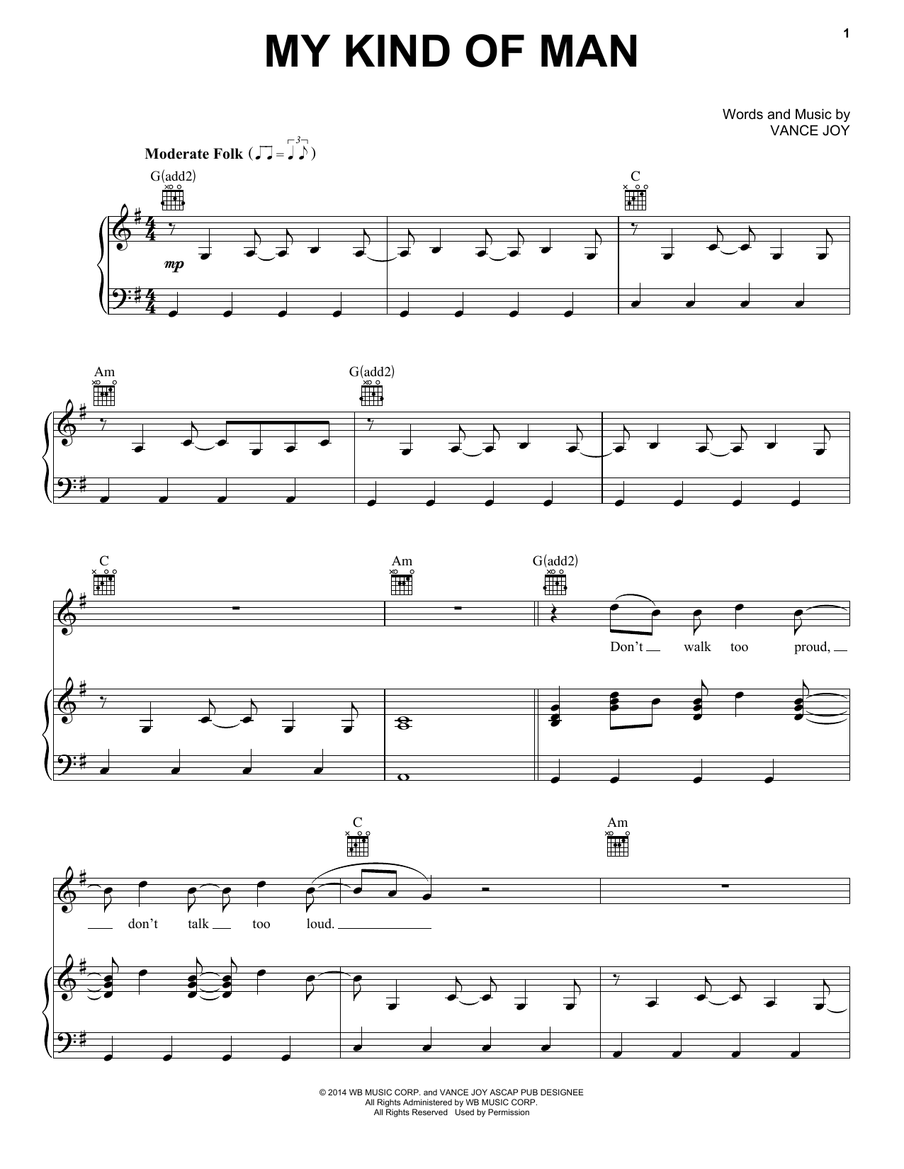 Vance Joy My Kind Of Man sheet music notes and chords. Download Printable PDF.