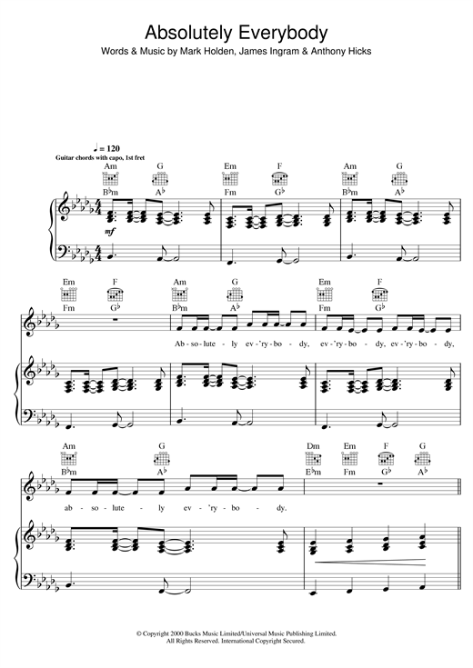 Vanessa Amorosi Absolutely Everybody sheet music notes and chords