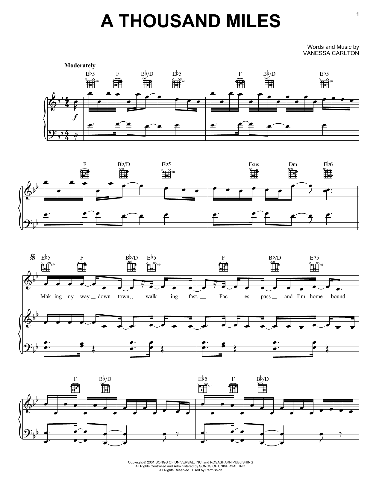 Vanessa Carlton A Thousand Miles sheet music notes and chords. Download Printable PDF.