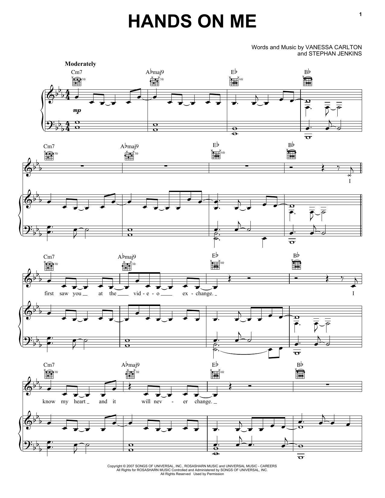 Vanessa Carlton Hands On Me sheet music notes and chords. Download Printable PDF.