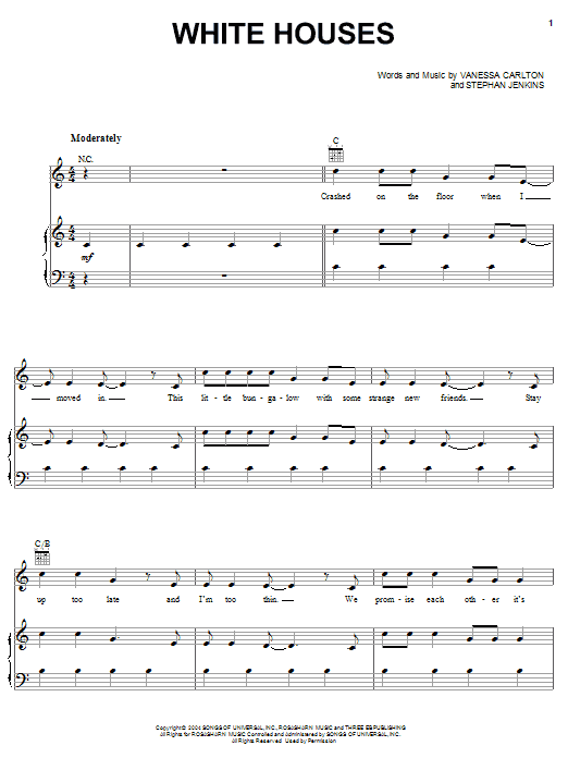 Vanessa Carlton White Houses sheet music notes and chords. Download Printable PDF.