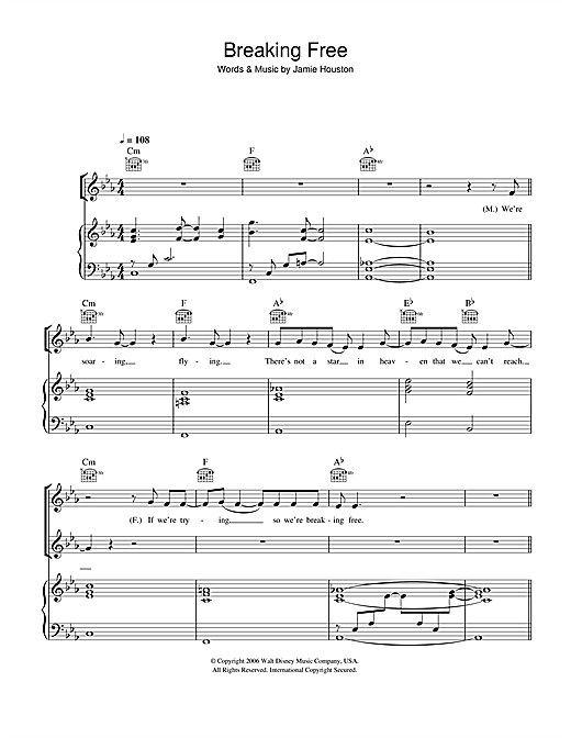 Vanessa Hudgens and Zac Efron Breaking Free (from High School Musical) sheet music notes and chords