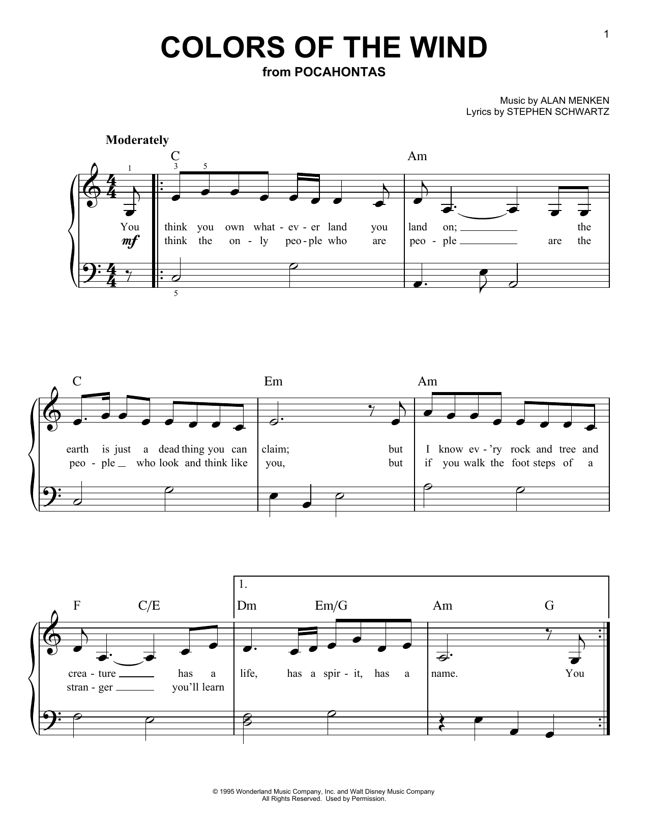 Vanessa Williams Colors Of The Wind (from Pocahontas) sheet music notes and chords. Download Printable PDF.