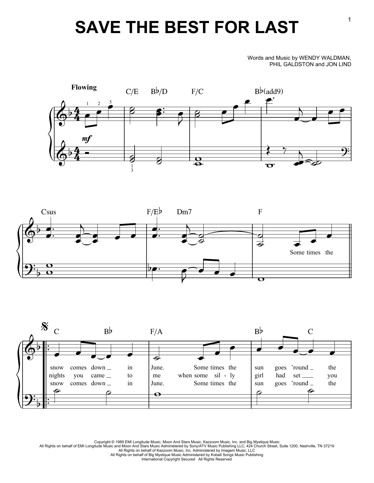 Vanessa Williams Save The Best For Last sheet music notes and chords. Download Printable PDF.