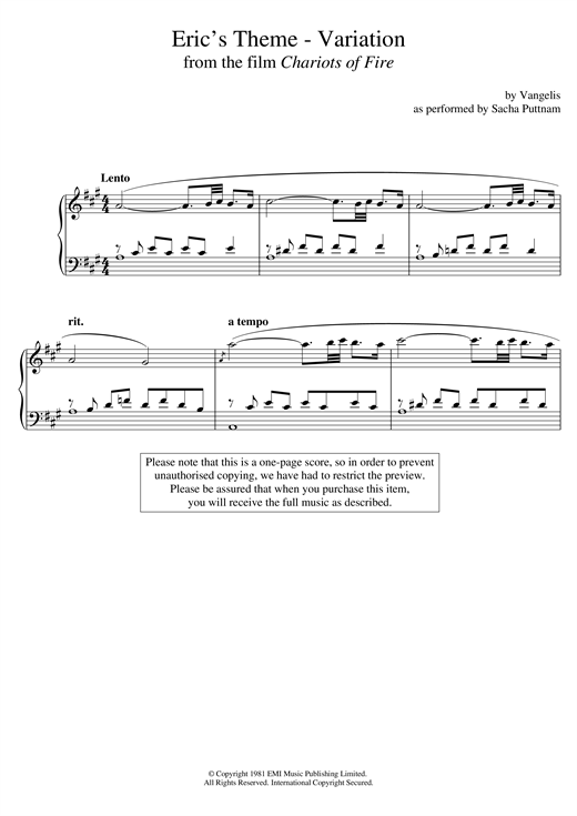 Vangelis Eric's Theme- Variation (From Chariots Of Fire) (as performed by Sacha Puttnam) sheet music notes and chords. Download Printable PDF.