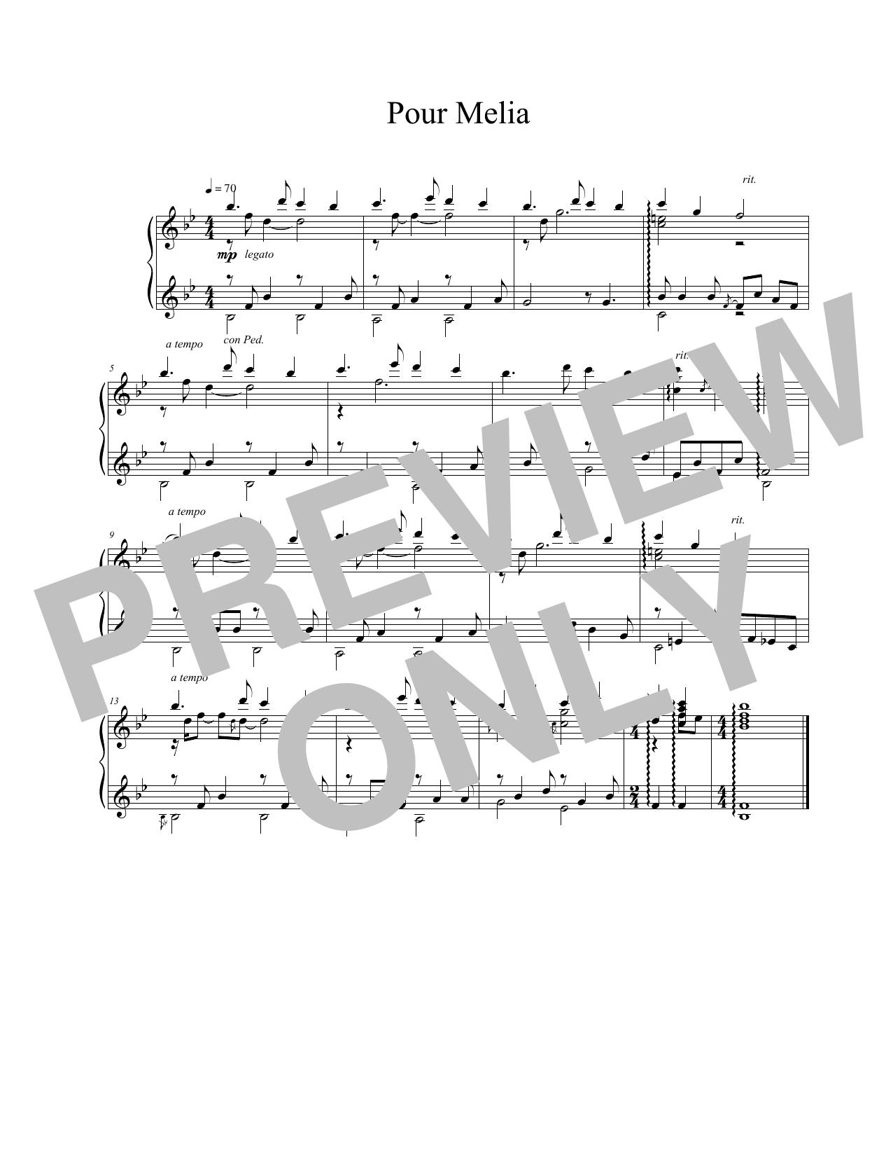 Vangelis Pour Melia sheet music notes and chords. Download Printable PDF.