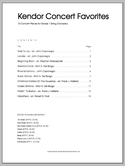 Various Kendor Concert Favorites - 1st Violin sheet music notes and chords. Download Printable PDF.