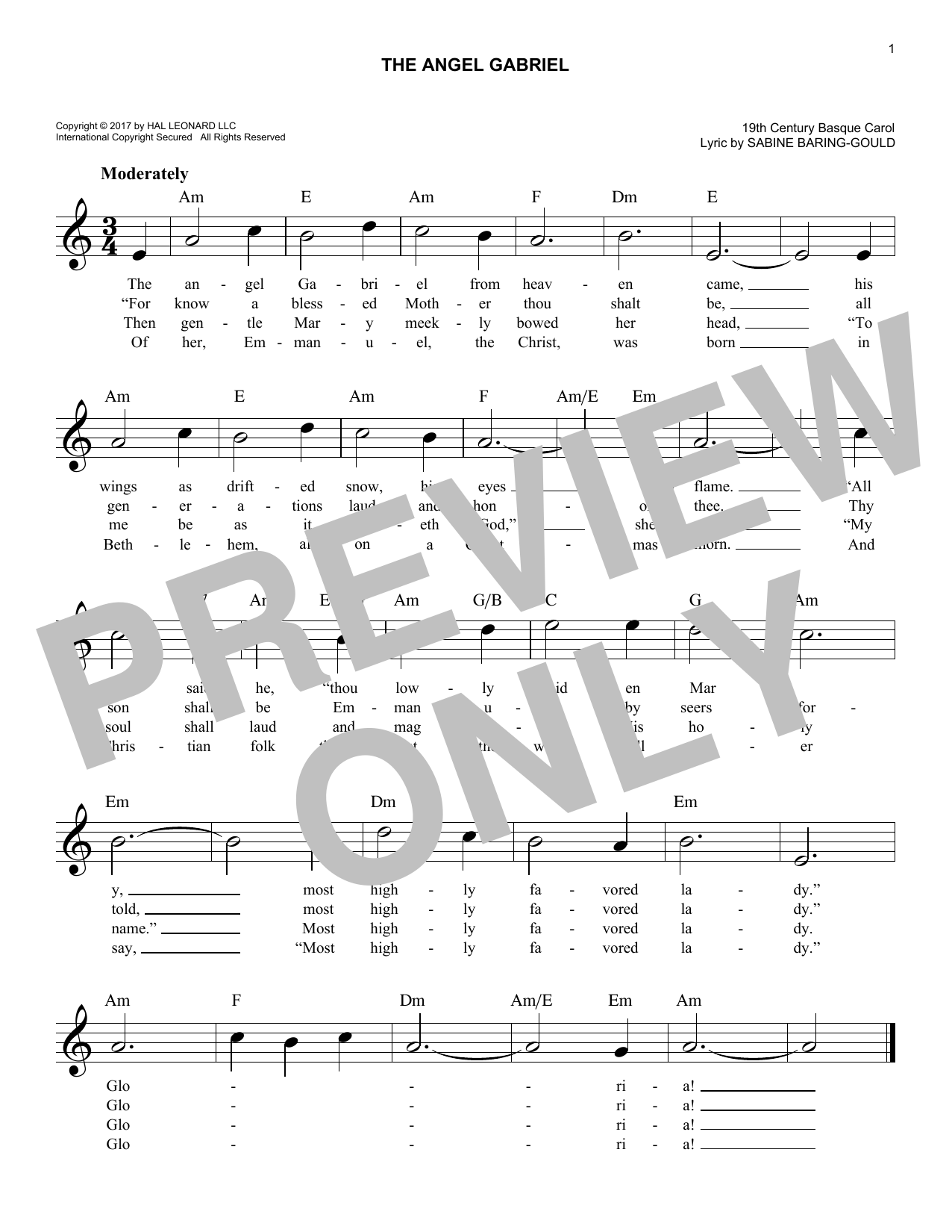 Various The Angel Gabriel sheet music notes and chords. Download Printable PDF.