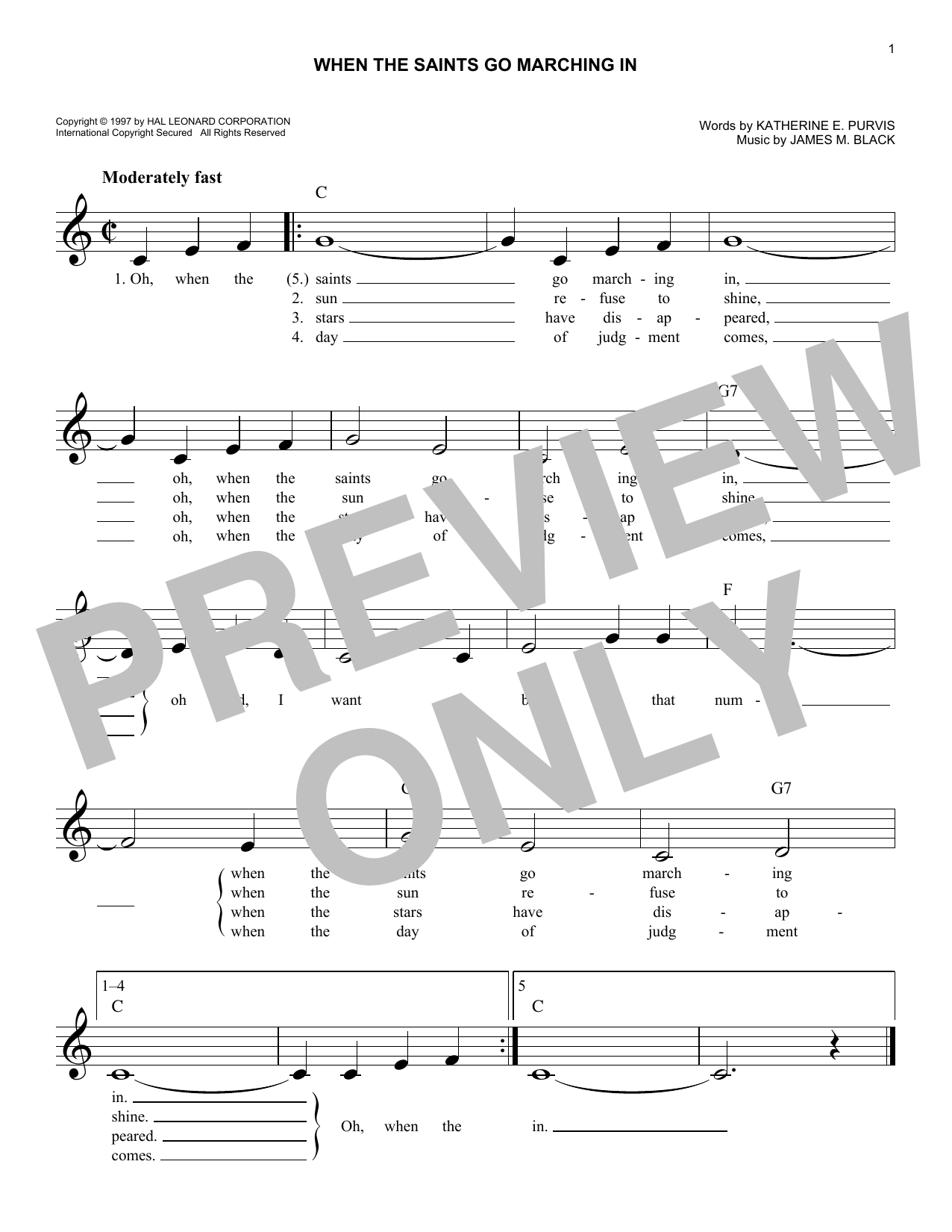 Various When The Saints Go Marching In sheet music notes and chords. Download Printable PDF.