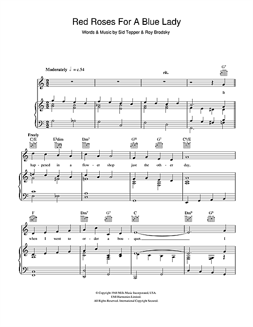 Vaughn Monroe Red Roses For A Blue Lady sheet music notes and chords. Download Printable PDF.