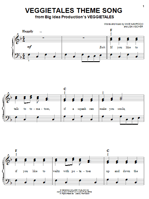 VeggieTales VeggieTales Theme Song sheet music notes and chords. Download Printable PDF.