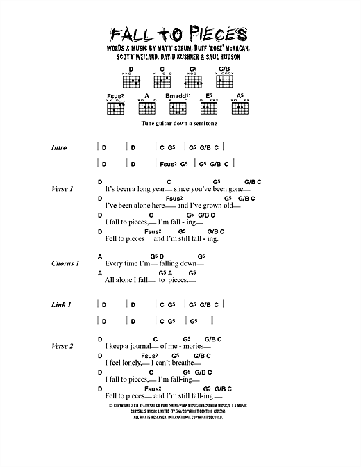 Velvet Revolver Fall To Pieces sheet music notes and chords