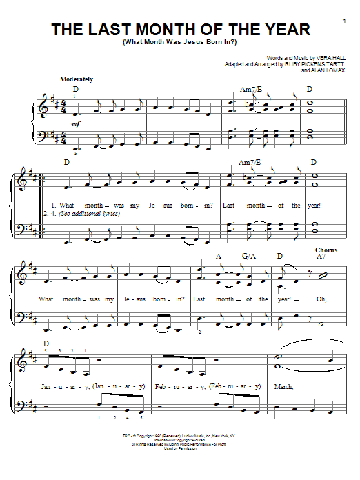 Vera Hall The Last Month Of The Year (What Month Was Jesus Born In?) sheet music notes and chords. Download Printable PDF.