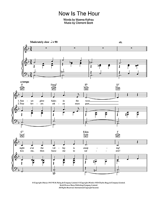 Vera Lynn Now Is The Hour sheet music notes and chords. Download Printable PDF.