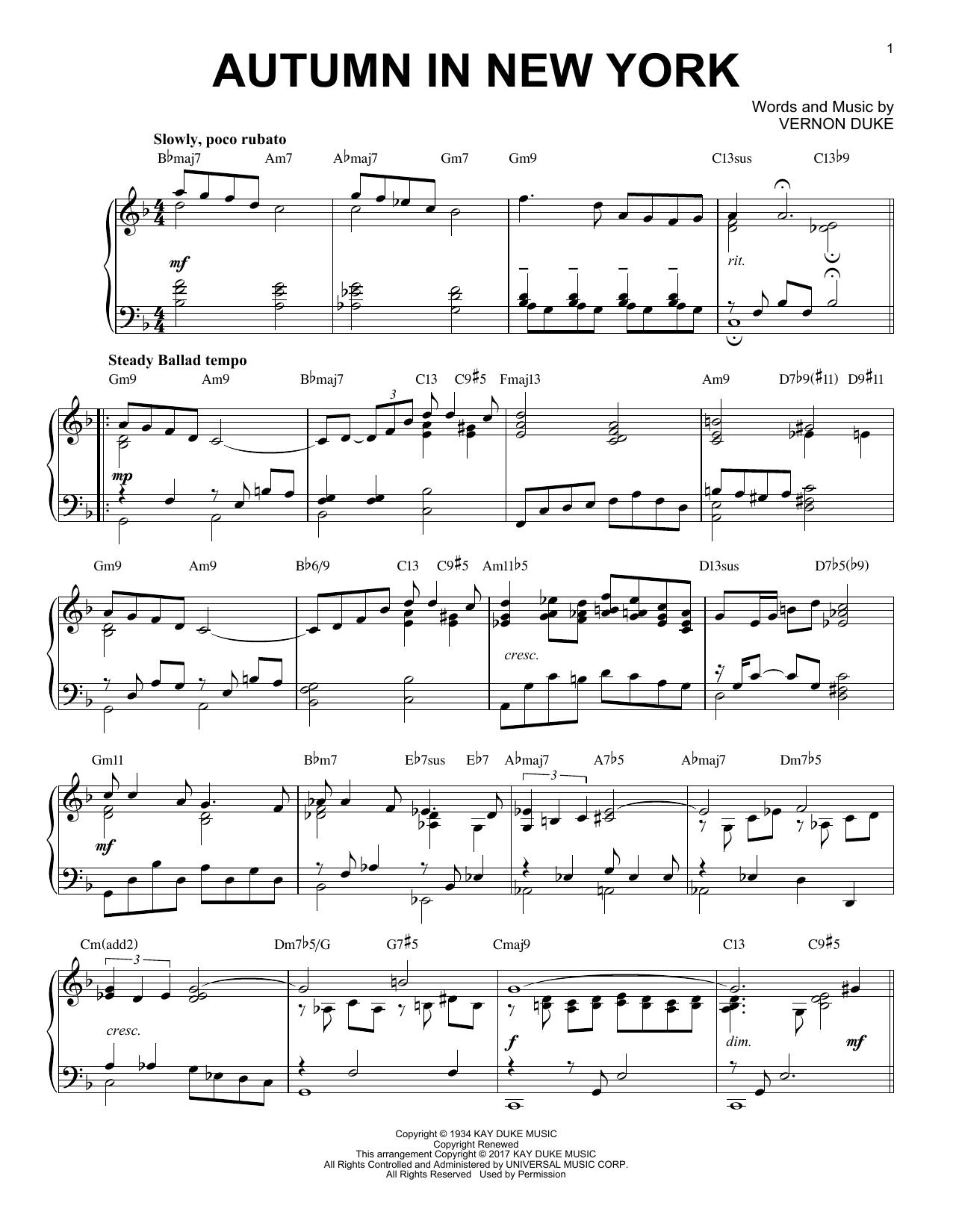 Vernon Duke Autumn In New York [Jazz version] sheet music notes and chords. Download Printable PDF.