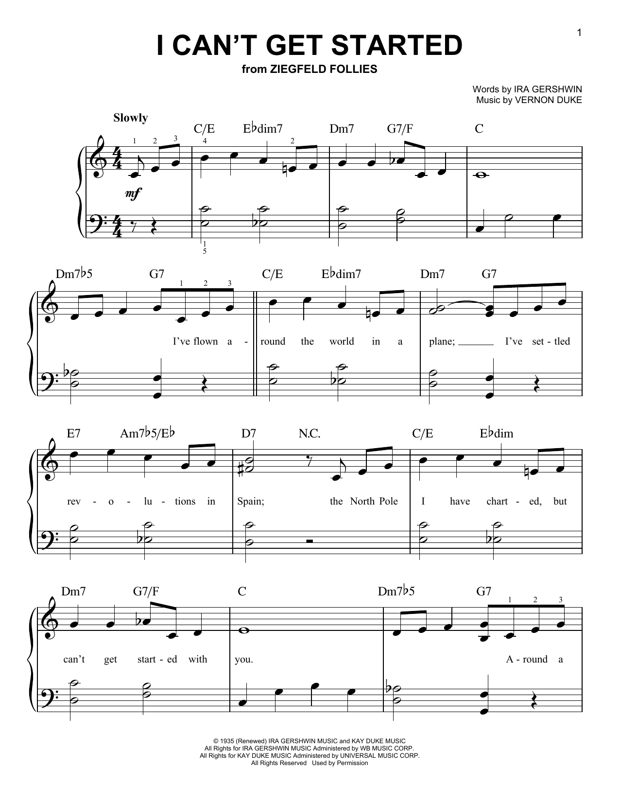 Vernon Duke I Can't Get Started sheet music notes and chords