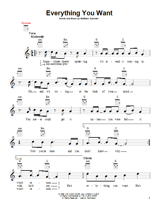 Vertical Horizon Everything You Want sheet music notes and chords. Download Printable PDF.