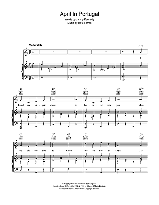 Vic Damone April In Portugal sheet music notes and chords. Download Printable PDF.