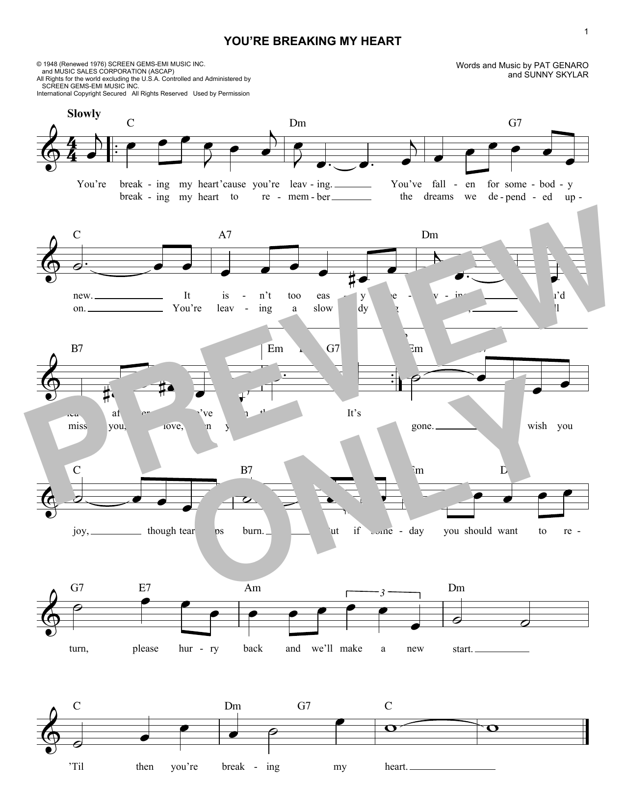 Vic Damone You're Breaking My Heart sheet music notes and chords. Download Printable PDF.