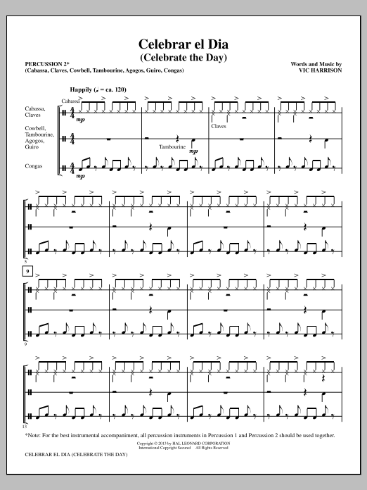 Vic Harrison Celebrar el Dia (Celebrate the Day) - Percussion 2 sheet music notes and chords. Download Printable PDF.