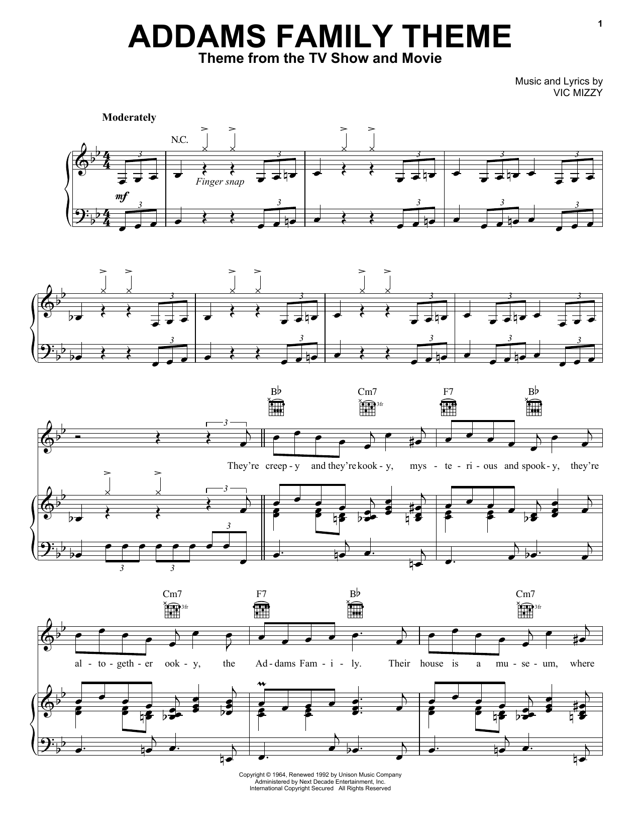 Vic Mizzy The Addams Family Theme sheet music notes and chords. Download Printable PDF.