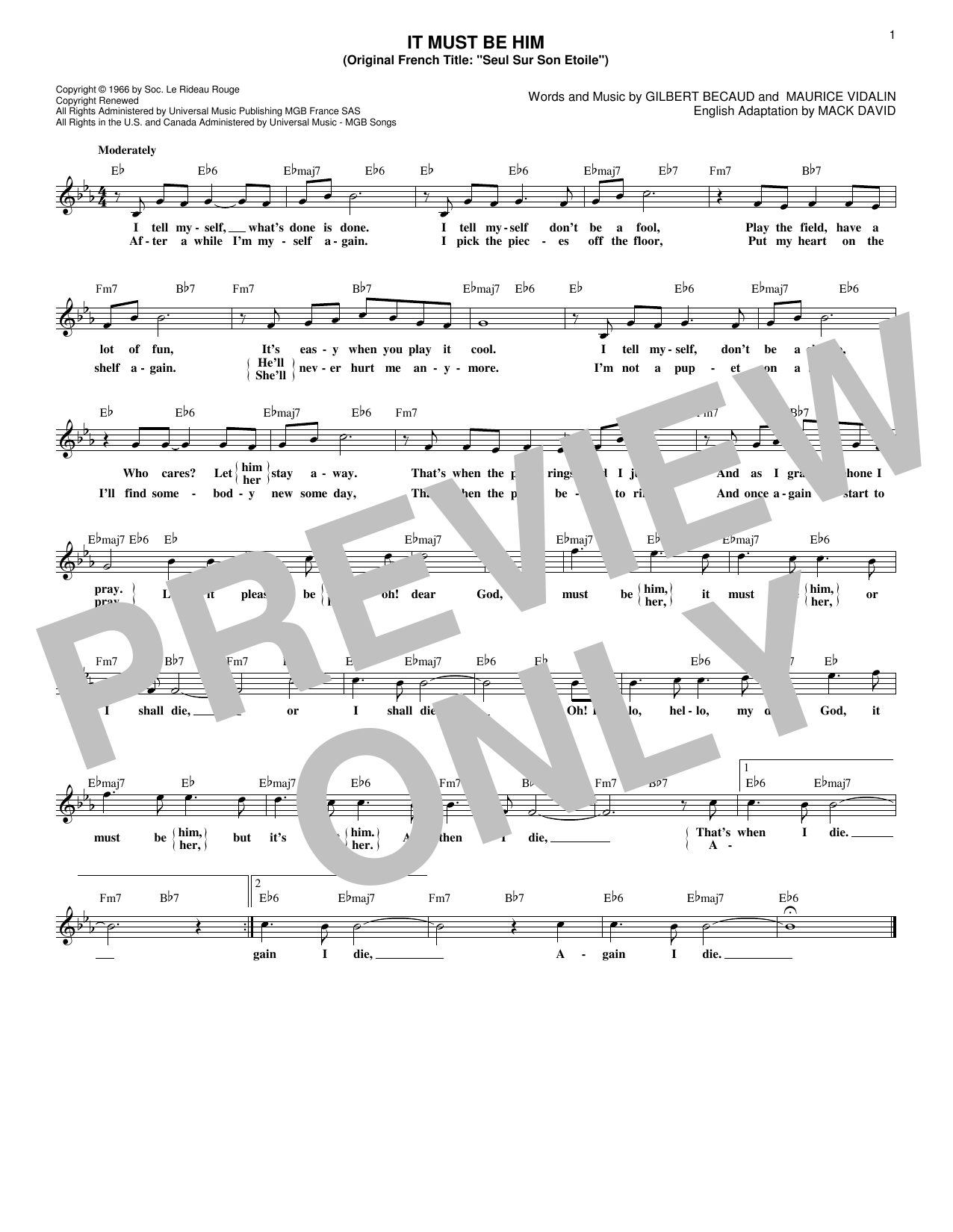 Vikki Carr It Must Be Him sheet music notes and chords. Download Printable PDF.