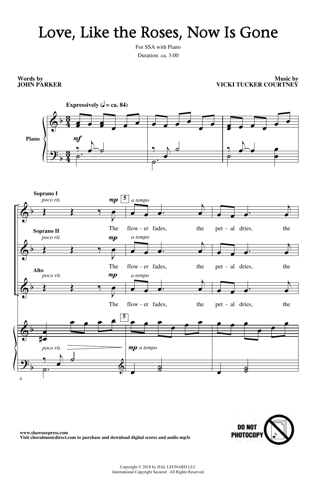 Vicki Tucker Courtney Love, Like The Roses, Now Is Gone sheet music notes and chords