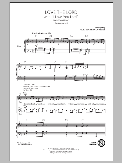 Vicki Tucker Courtney Love The Lord (with I Love You Lord) sheet music notes and chords. Download Printable PDF.